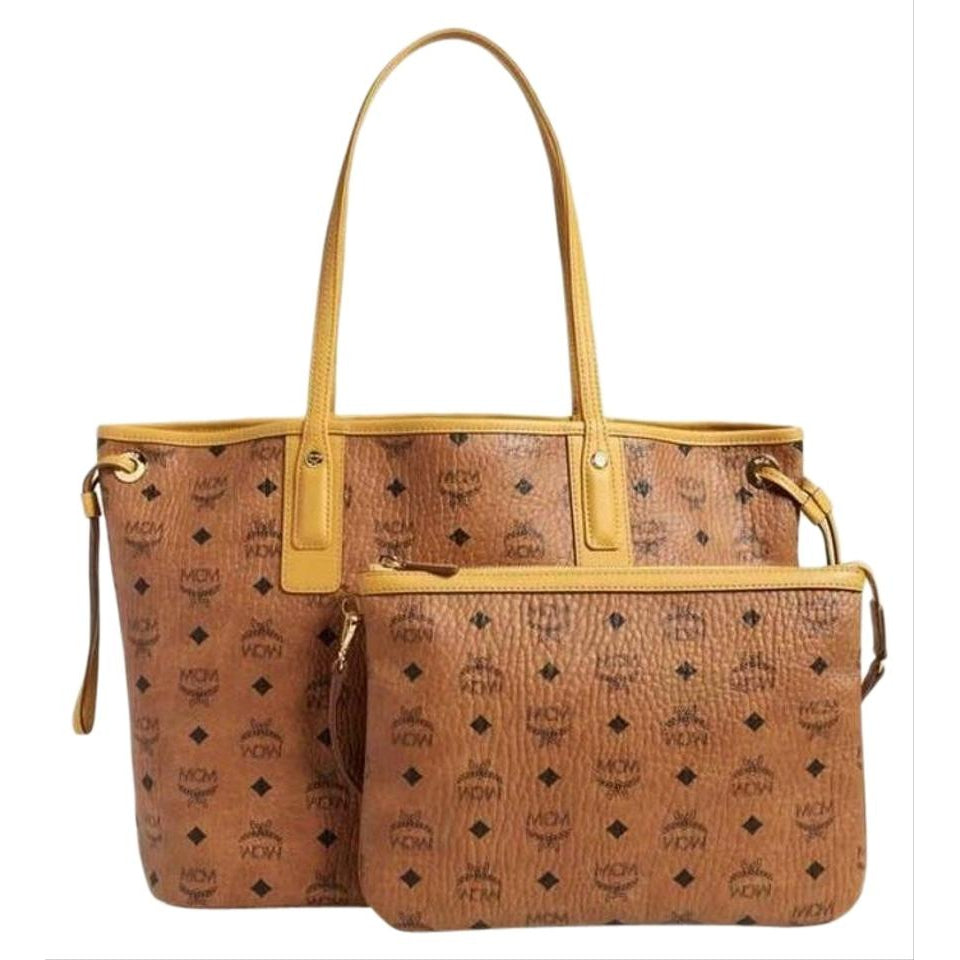 MCM Medium Liz Reversible Shopper Cognac with Pouch Brown Coated Canvas Tote