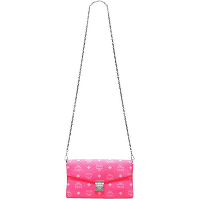 MCM Millie Monogrammed Leather Pink Coated Canvas Cross Body Bag