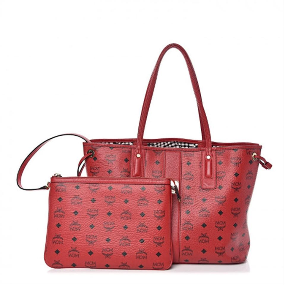 MCM Visetos Medium Liz Reversible Shopper Ruby Red Coated Canvas Tote