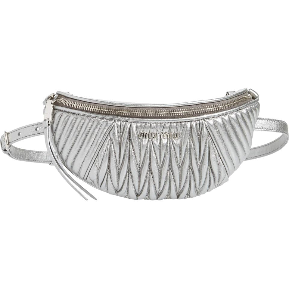 Miu Miu Belt Matelassé Silver Lambskin Leather Messenger Bag