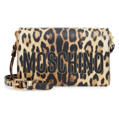 Moschino Shoulder Leopard Print Logo Black Leather Cross Body Bag