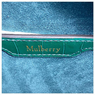 Mulberry Mini Zipped Bayswater Croc Embossed Satchel Green Leather Cross Body Bag