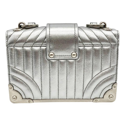 Prada Crossbody Cahier Quilted Metallic Silver Leather Shoulder Bag