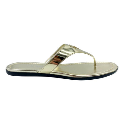 Prada Gold Logo Flip Flop Metallic Sandals 38.5