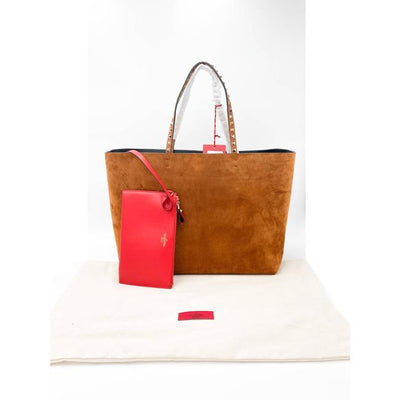 Valentino Rockstud Suede Brown Leather Tote