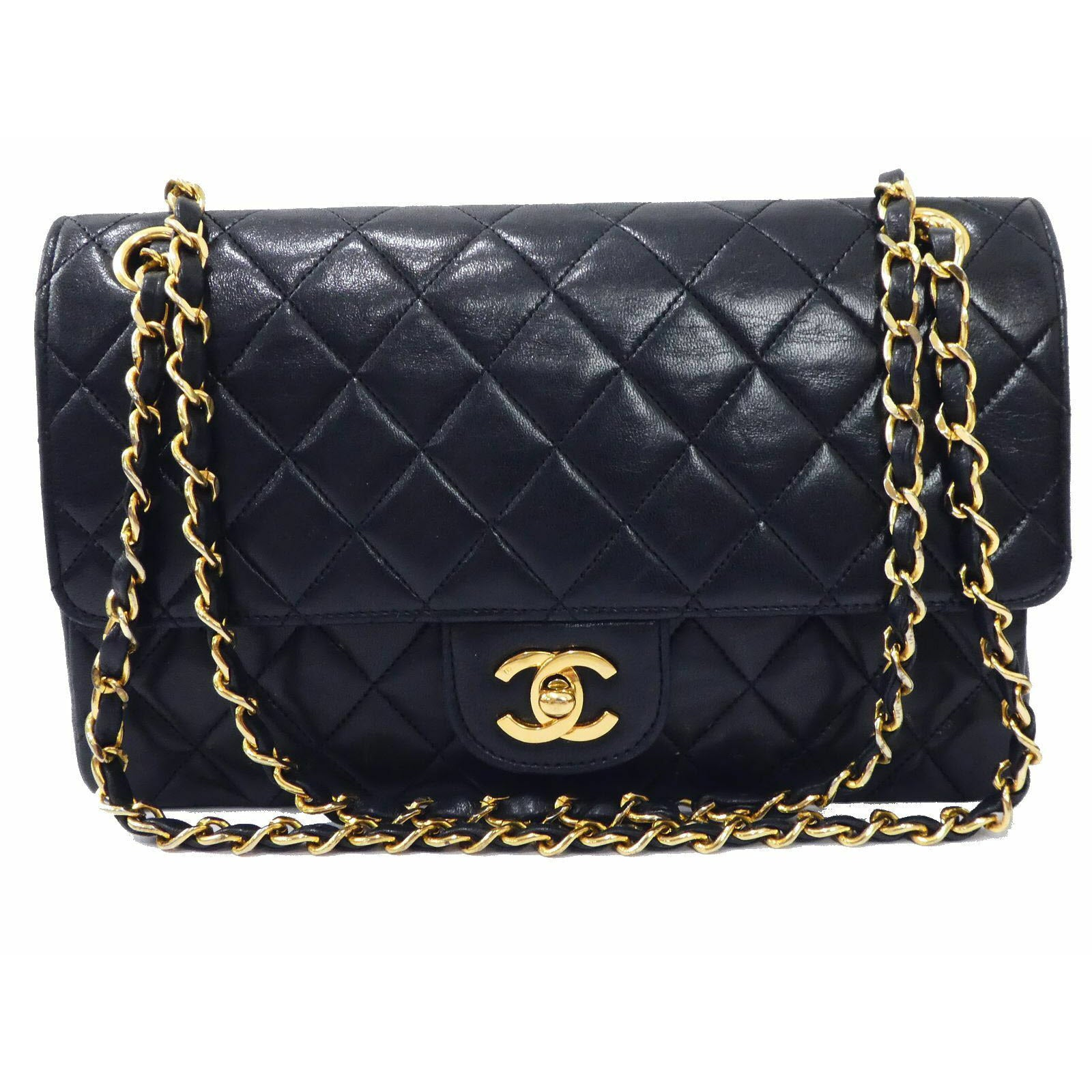 CHANEL Lambskin Medium Double Flap Bag Black