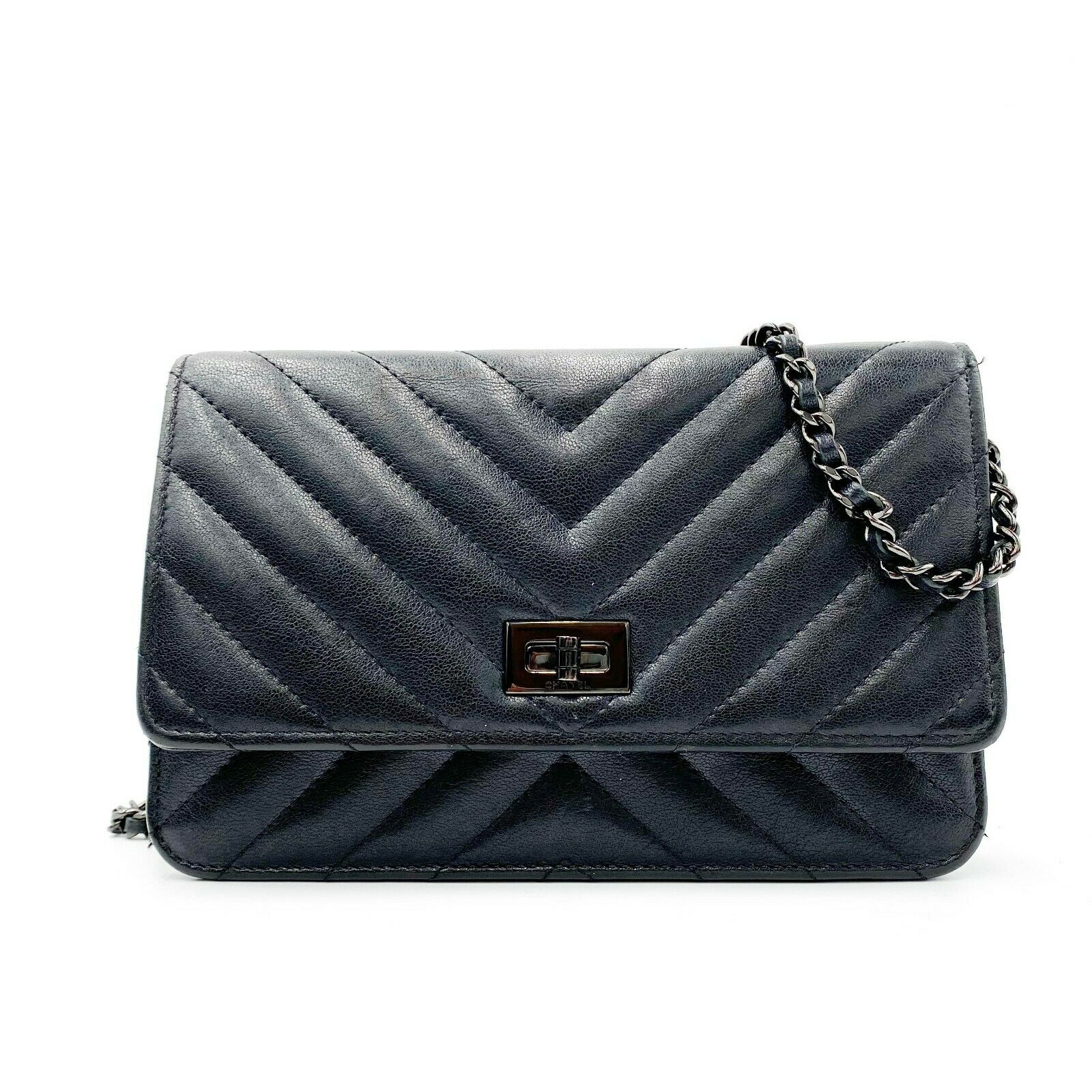 Chanel Wallet on Chain 2.55 Reissue Sheepskin Chevron Woc So Black Leather