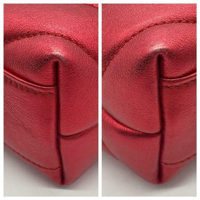 Saint Laurent Monogram Loulou Toy Matelassé Metallic Red Leather Cross Body Bag