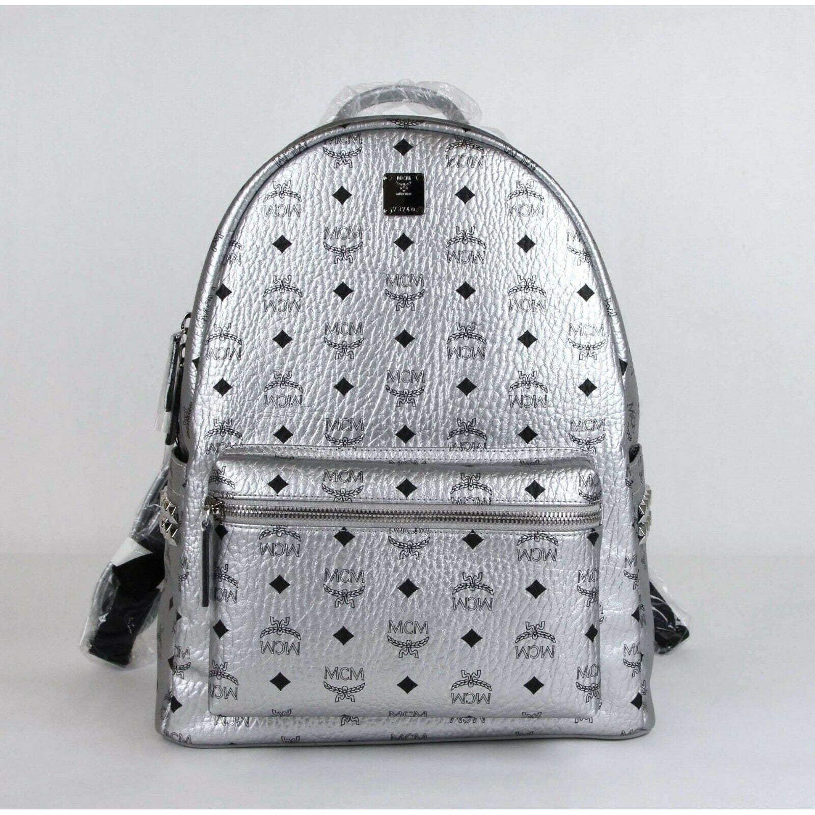 MCM Medium 40 Silver Coated Canvas Studded Backpack