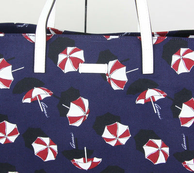 GUCCI Large Parasol Print Canvas Tote Handbag Blue
