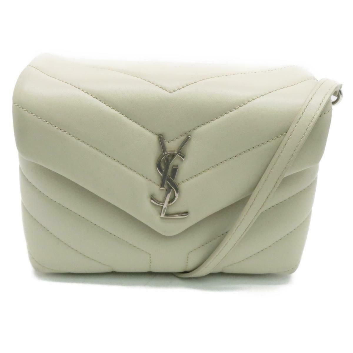 SAINT LAURENT Calfskin Y Quilted Monogram Toy Loulou Chain Satchel Ivory