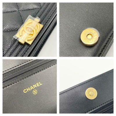 Chanel Boy Wallet on Chain Caviar Quilted Woc Black Leather Cross Body Bag