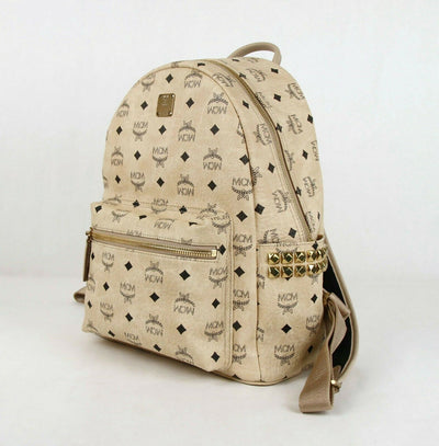 MCM Beige Coated Canvas Medium Studded Backpack