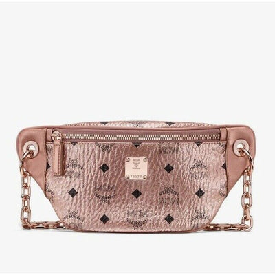 MCM Essential Rose Gold Visetos Mini Crossbody Chain Bag
