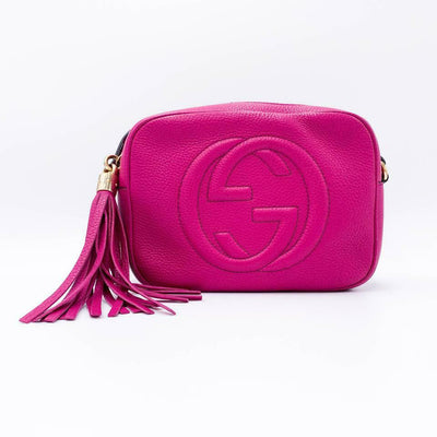 Gucci Soho Disco Pebbled Calfskin Small Pink Leather Shoulder Bag