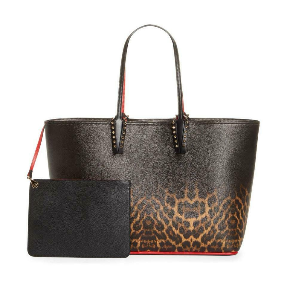 Christian Louboutin Cabata Leopard Degradé Medium Black Leather Tote