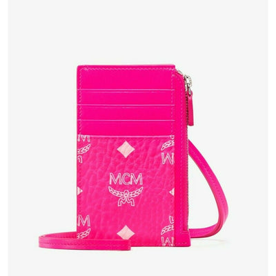 MCM Lanyard Card Holder in Visetos Coated Canvas Neon Pink