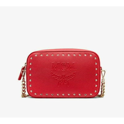 MCM Red Chanswell Camera Crossbody Bag Park Avenue Leather