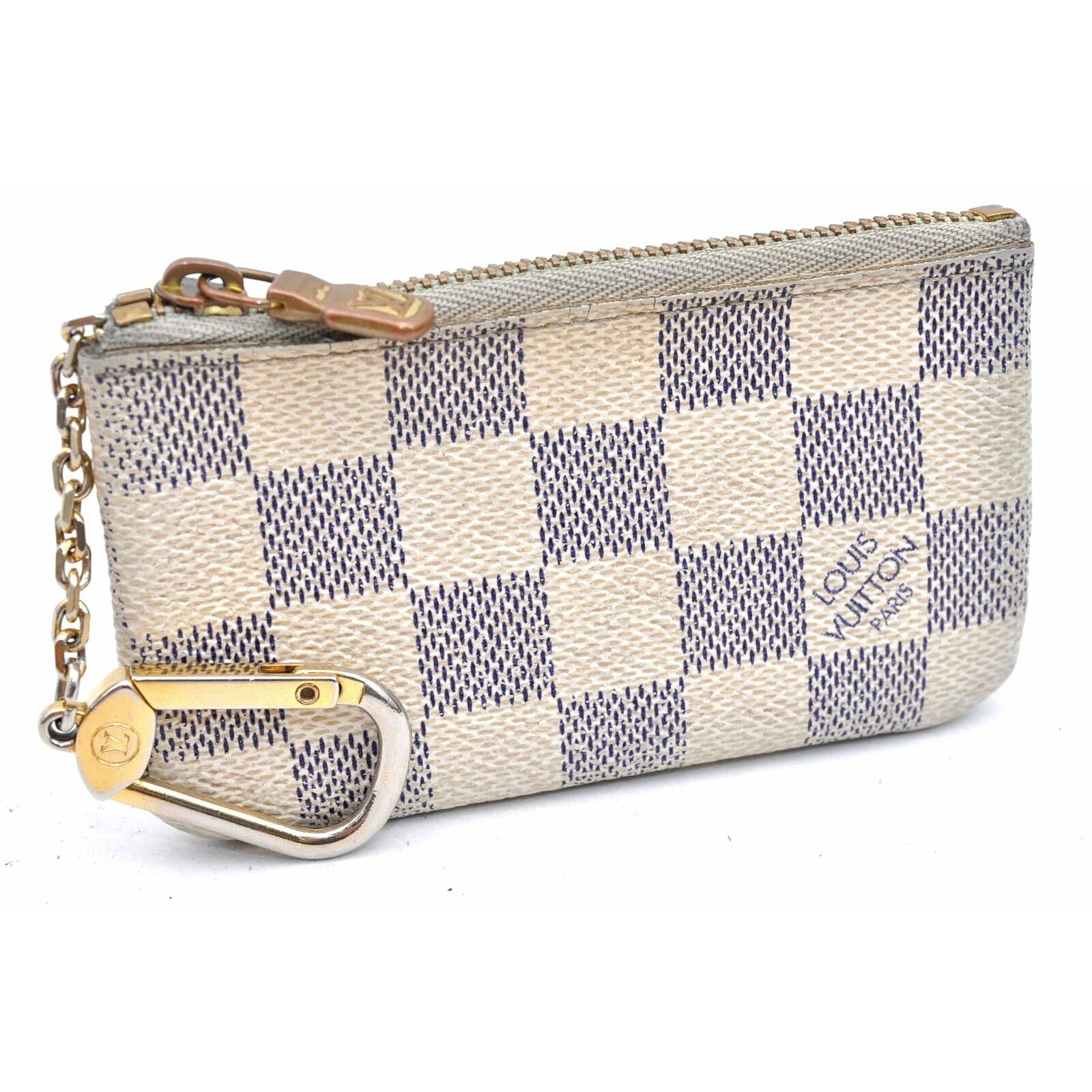 Louis Vuitton White Key Pouch Damier Azur Wallet