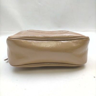 Gucci Soho Disco Soft Small Beige Patent Leather Shoulder Bag