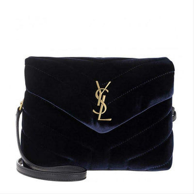 Saint Laurent Monogram Loulou Quilted Monogram Toy Blue Velvet Shoulder Bag
