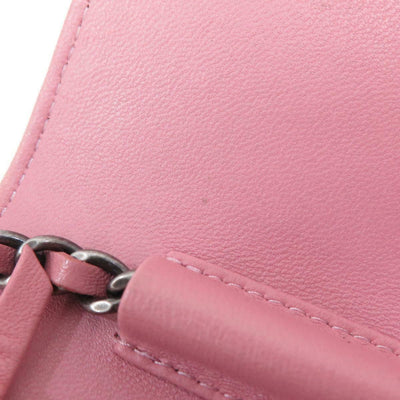 CHANEL Lambskin Leather Quilted Boy Wallet On Chain Pink