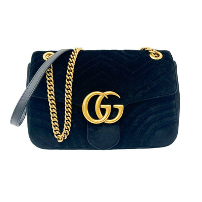 Gucci GG Marmont Matelasse Medium Black Velvet Shoulder Bag Chain