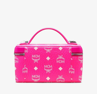 MCM Neon Pink Coated Canvas Rockstar Vanity Case Box Bag
