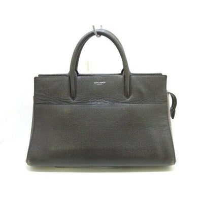 SAINT LAURENT PARIS Cabas Rive Gauche Dark Brown Handbag