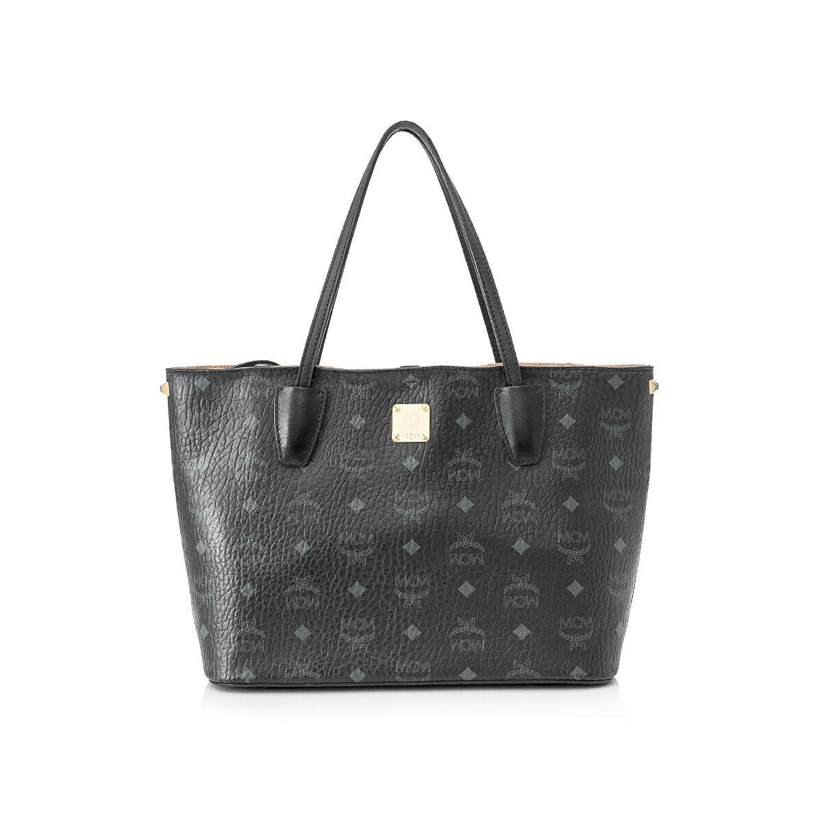 MCM Black Diamond Visetos Small Shopper Tote