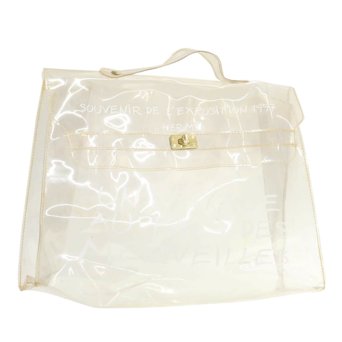 Hermès Kelly Souvenir De L'exposition Transparent White Vinyl Tote