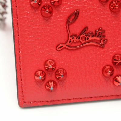 Christian Louboutin Clutch Spikes Paloma Loubinthesky Red Calfskin Leather Cross Body Bag