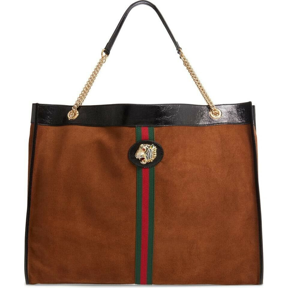 Gucci Bag Linea Women's Rajah Maxi Brown Suede Tote