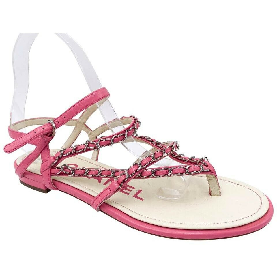 Chanel Pink Thong Cc Flat Sandals