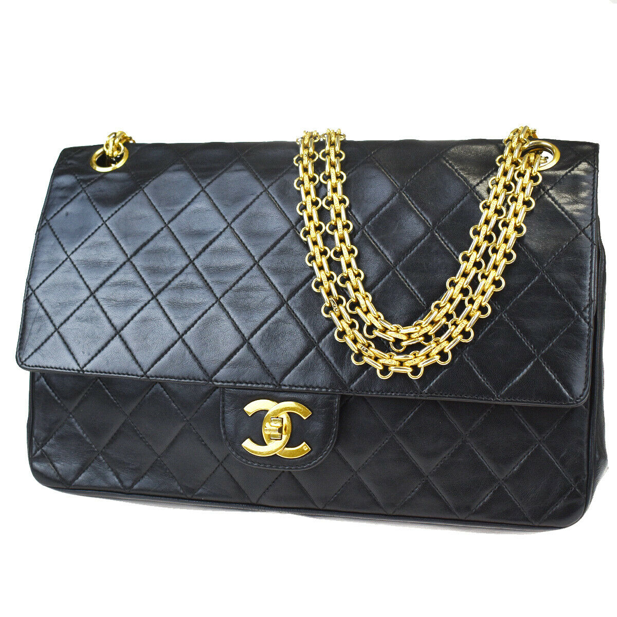 CHANEL CC Matelasse Double Flap Chain Shoulder Bag Leather Black