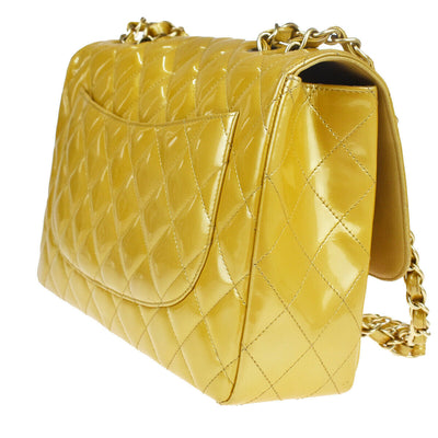 CHANEL Striated Patent Quilted Medium Double Flap Yellow Gold