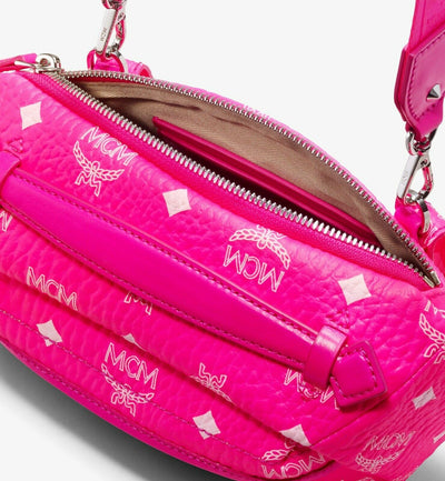 MCM Neon Pink Visetos Small Crossbody Belt Bag