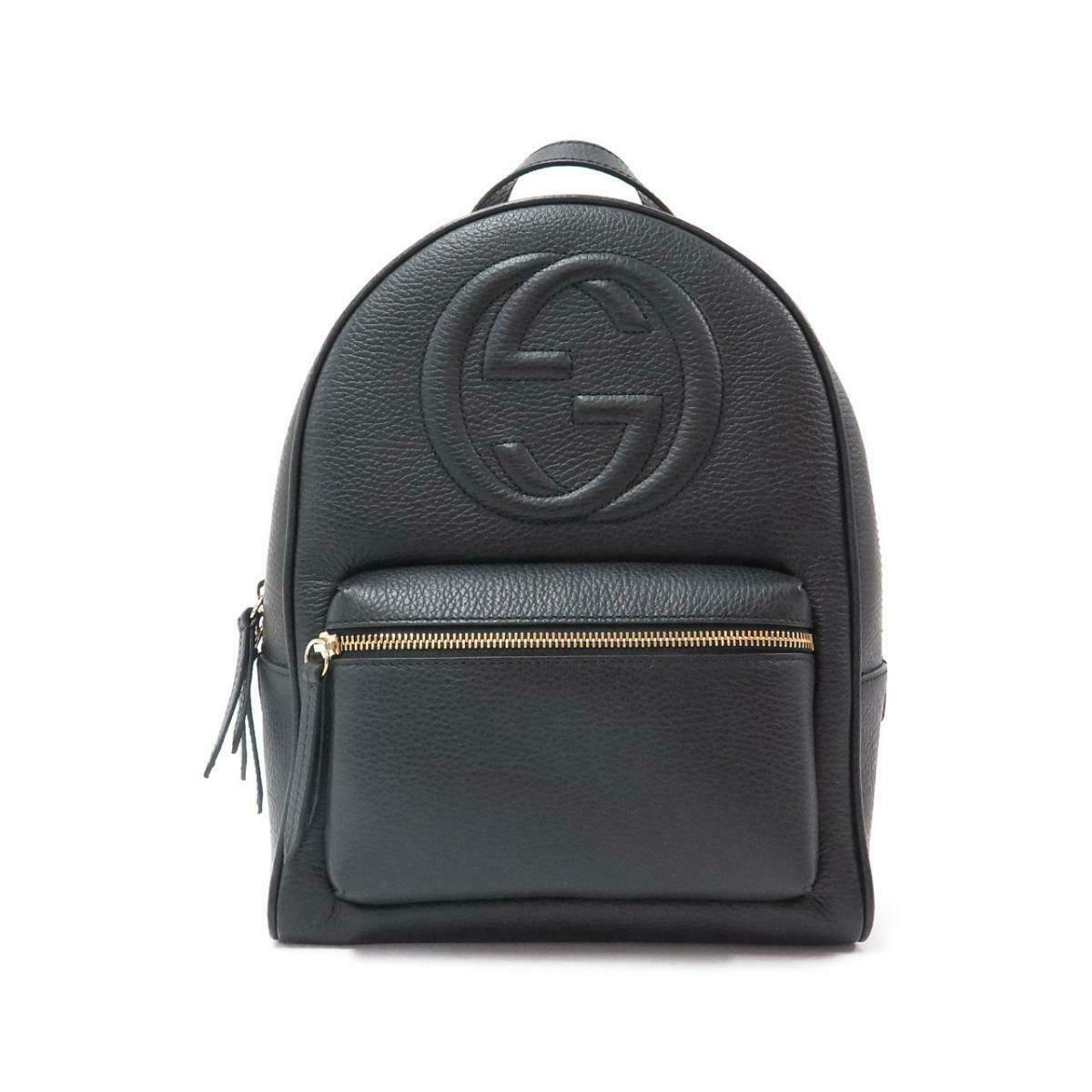 Gucci Soho Pebbled Calfskin Chain Black Leather Backpack