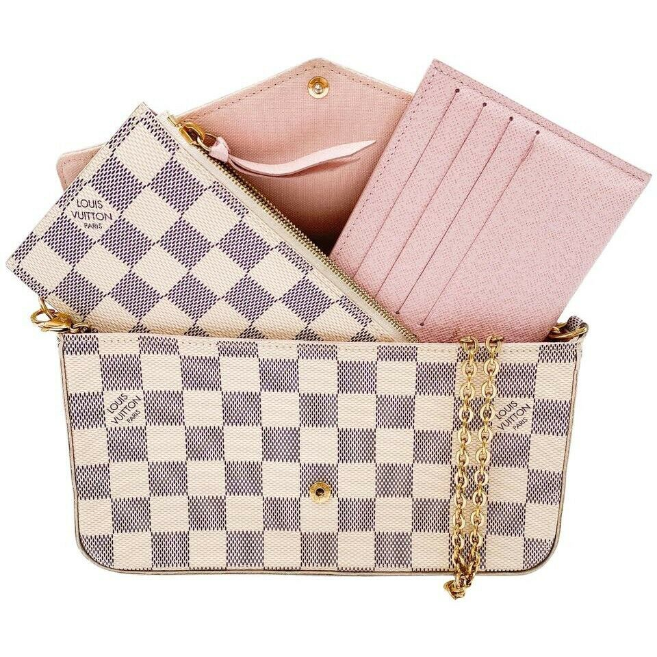 Louis Vuitton Pochette Felicie White Damier Azur Canvas Shoulder Bag