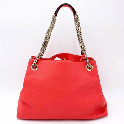 Gucci Shoulder Bag Soho Chain Medium Coral Pink Leather Tote