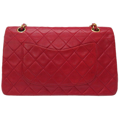 CHANEL Lambskin Quilted Medium Double Flap Red