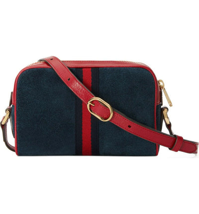 Gucci Crossbody Small Ophidia & Leather Blue Suede Shoulder Bag $990