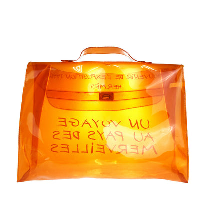HERMES Vinyl Kelly 40 Hand Beach Bag SOUVENIR DE L'EXPOSITION 1998