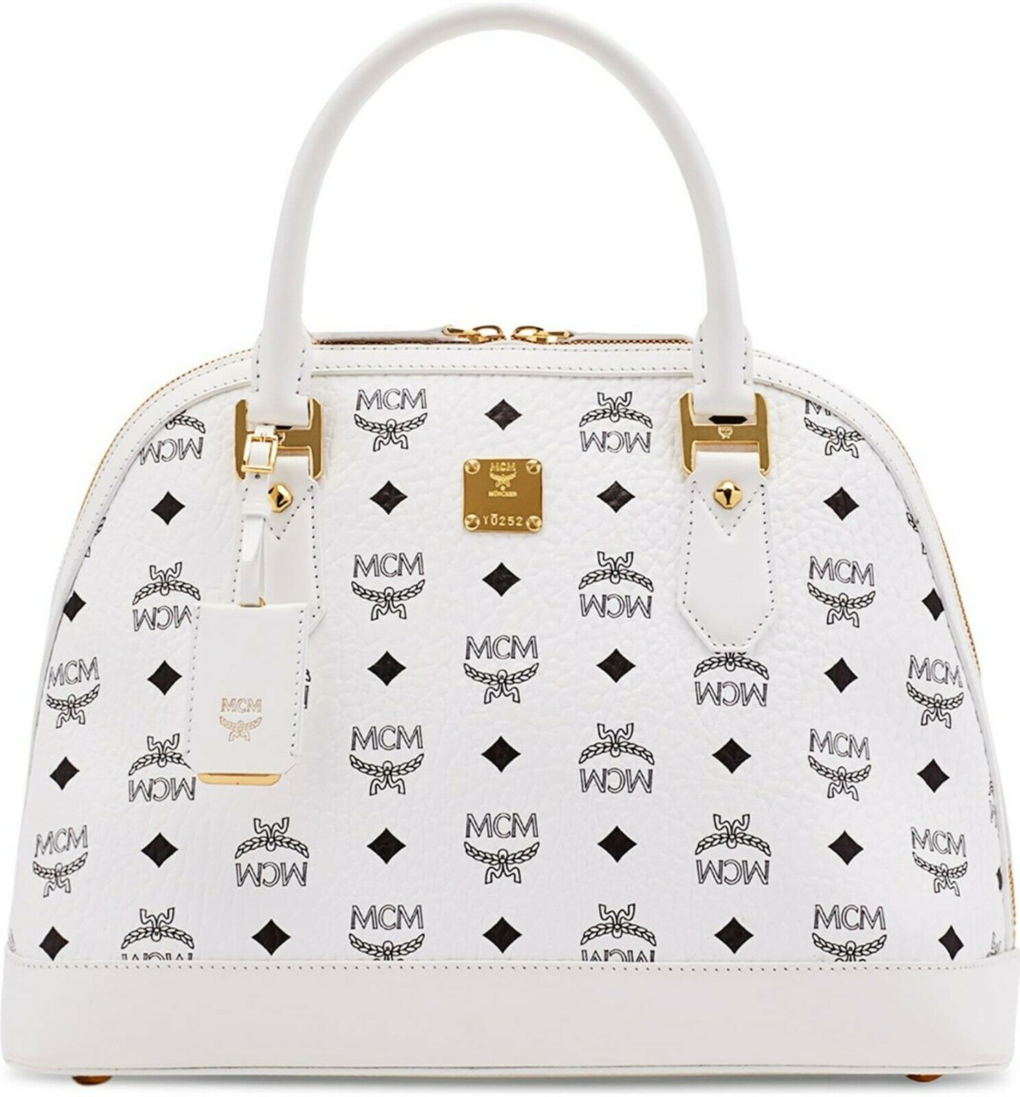 MCM Medium Heritage White Visetos Top Handle Bowler Bag