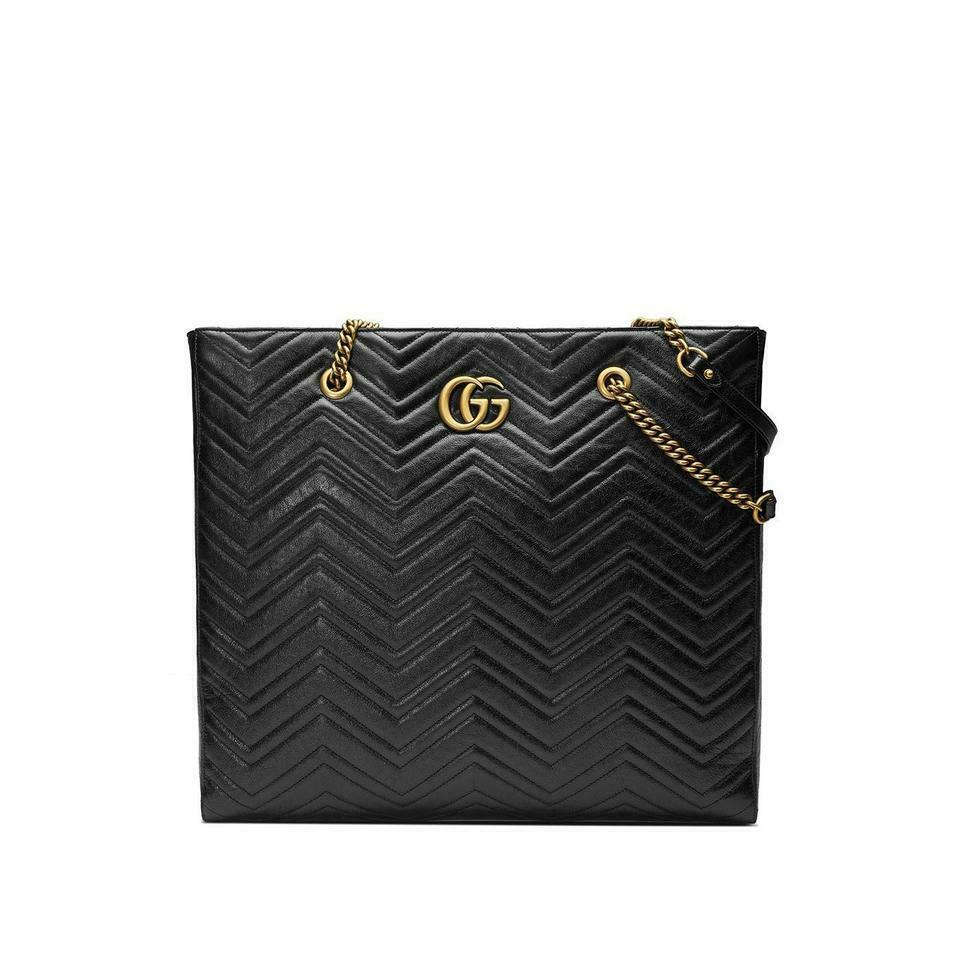 Gucci Bag Marmont Gg Matelassé Large North/South Black Tote