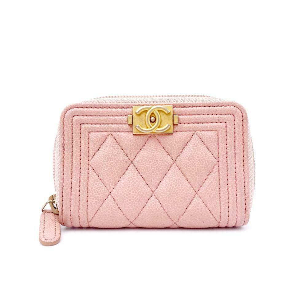 Chanel Pink Boy Caviar Quilted Zip Around Coin Purse Wallet