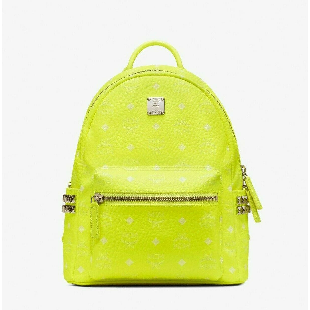 MCM Small 32 Neon Yellow Visetos Stark Studded Backpack