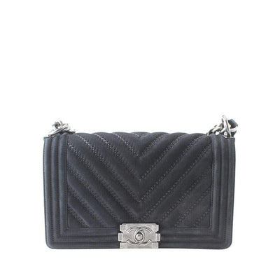 Chanel Le Boy Medium Black Chevron Leather Shoulder Bag