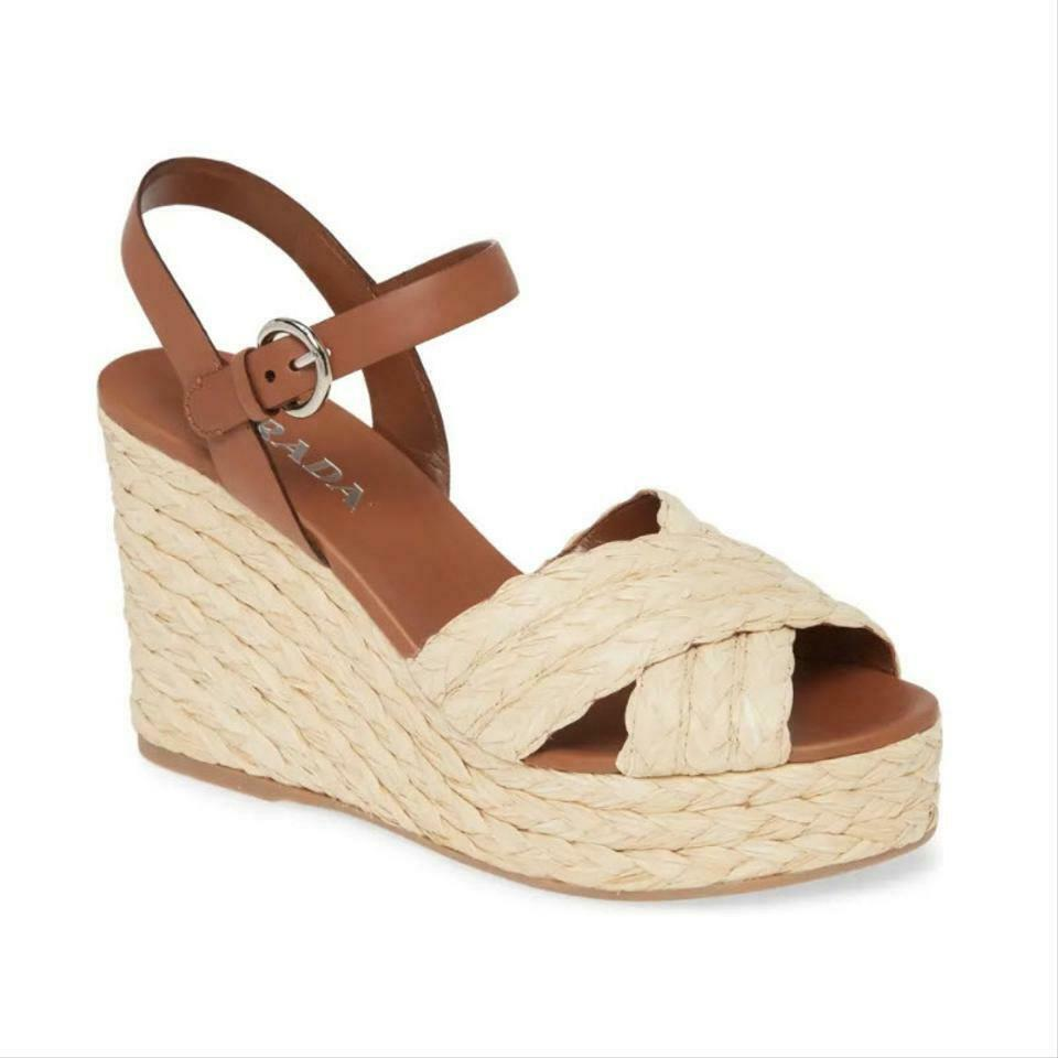 Prada Brown Raffia Platform Sandal Wedges