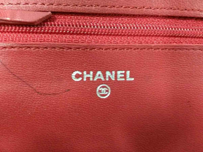 CHANEL Lambskin Quilted Wallet On Chain WOC Red